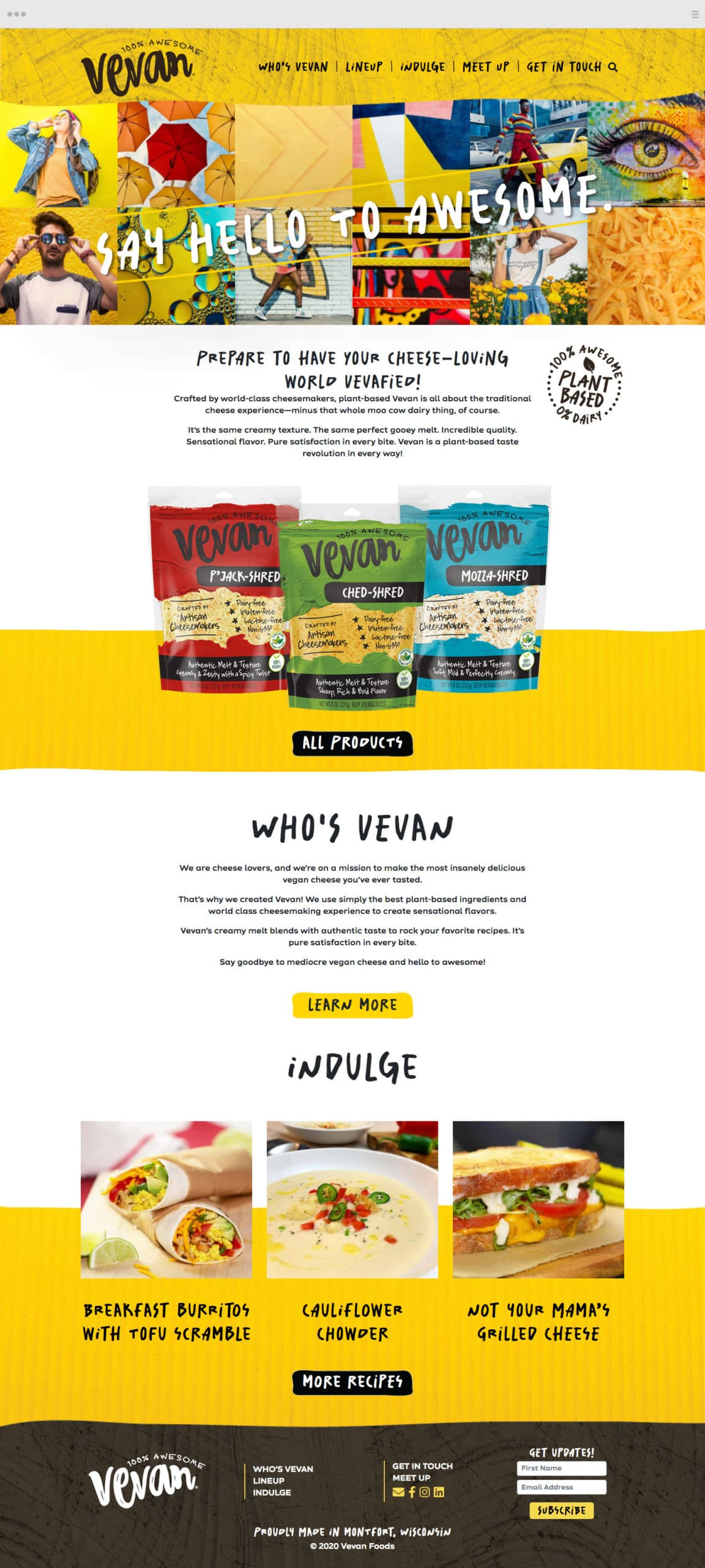 Vevan Foods Website Design - Homepage