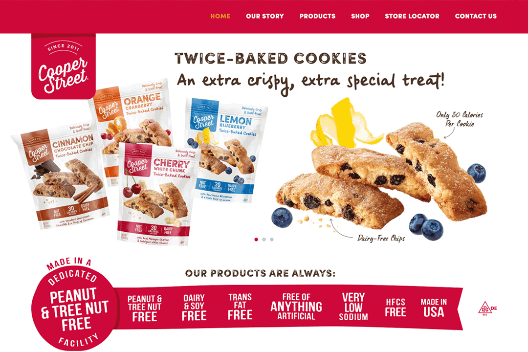 coopers food website design